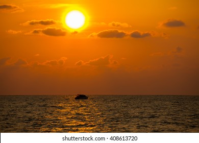 Beautiful sunset and sea wave in the sea. Thailand.