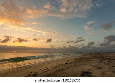 Beautiful sunset at seascape in Sal island, Cape Verde, Cabo Verde