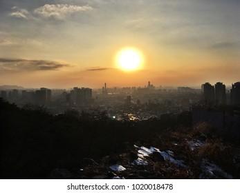 Beautiful sunset in Seoul