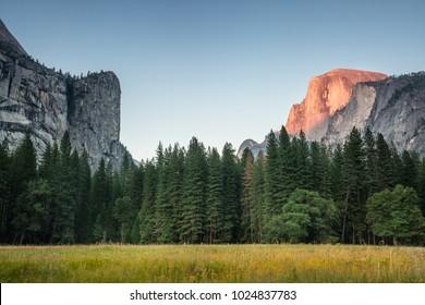 Beautiful sunset shot of Yosemite Valley and Half dome in Yosemite National Park in California, USA