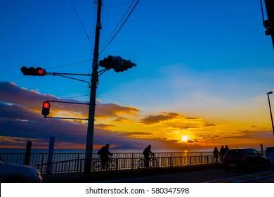 Beautiful Sunset silhouette view at Kamakura, Kanagawa Prefecture Japan