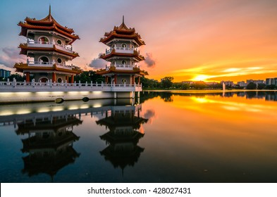 Beautiful sunset at Singapore Chinese Garden, a public park in Jurong East, Singapore. Designed by an architect from Taiwan, with concept based on Chinese gardening art.