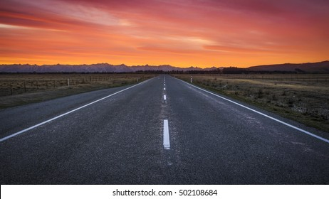 Beautiful sunset sky with asphalt highways road in rural scene use land transport and traveling background.
