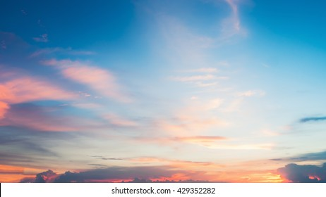 Beautiful sunset sky background or Landscape sunset. sunset with clouds