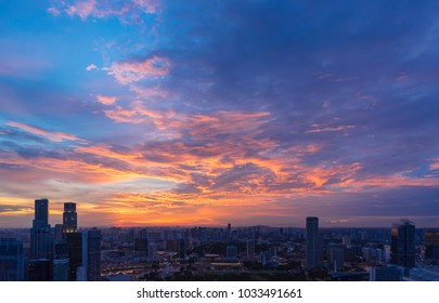 Beautiful sunset sky with clouds over the city. Picture for add text message. Backdrop for design art work.