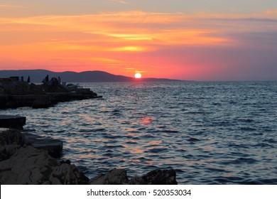 Beautiful sunset sky in Croatia