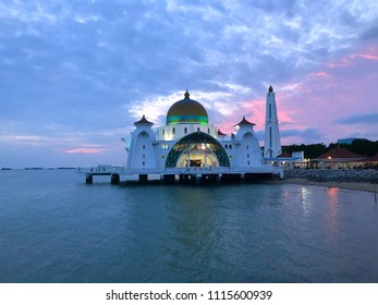 Beautiful sunset sky at Malacca Straits Floating Mosque or Masjid Selat Melaka