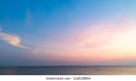 Beautiful sunset sky on the beach background.Nature background.