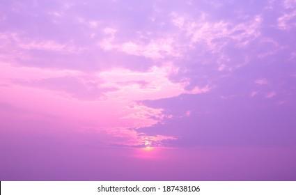 Beautiful sunset sky. Purple filter.