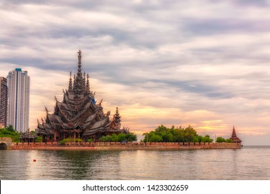 Beautiful Sunset Sky and Sea View with Sanctuary of Truth Background Pattaya, Thailand