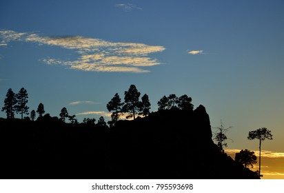 Beautiful sunset with splendid blue sky and clouds, Pilancones, Gran canaria, Canary islands