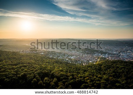 Beautiful Sunset at Stuttgart City, Germany