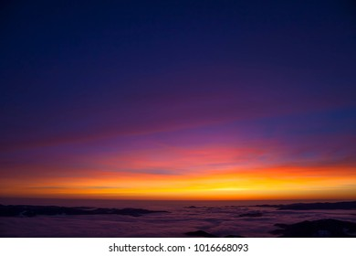 beautiful sunset or sunrise with color sky on the mountain