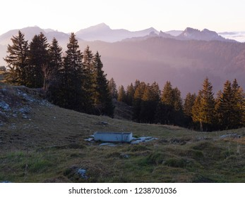 a beautiful sunset in the swiss alps
