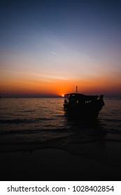 beautiful sunset at Tham Phra Nang Beach, Krabi, railay