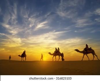 Beautiful sunset at Thar desert ,Jaisalmer,India