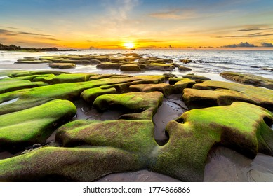 Beautiful sunset at Tindakon Dazang Beach, Malaysia. the foreground is filled of coastal rocks that covered by green moss. It only appear during very low sea tide.