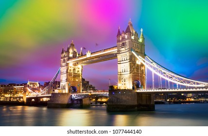 beautiful sunset at Tower Bridge in London city, abstract colorful sky for background