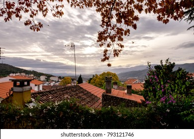 Beautiful sunset with town view in Belmonte (Beautiful mountain), municipality in the district of Castelo Branco, Portugal