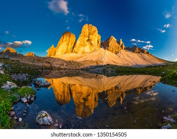 Beautiful sunset at Tre Cime di Lavaredo trail in northern Italy
