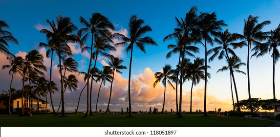 Beautiful sunset at a tropical beach in Kauai, Hawaii Islands.
