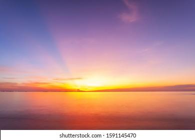 Beautiful sunset twilight over sea beach at Bangsan beach, Thailand