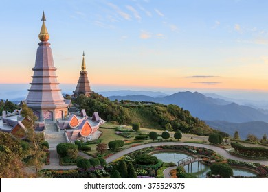 Beautiful sunset at two pagoda, Doi Inthanon National Park, Chiang mai, Thailand.