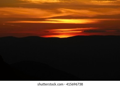 beautiful sunset in the Ukraine near the sea and mountains