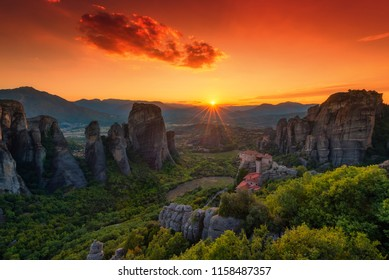 Beautiful Sunset in the valley of Meteora in Greece!