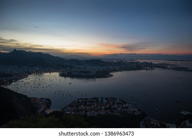 Beautiful sunset view of Botafogo Cove and Flamengo Beach from a viewpoint at Sugarloaf Mountain - Rio de Janeiro, Brazil