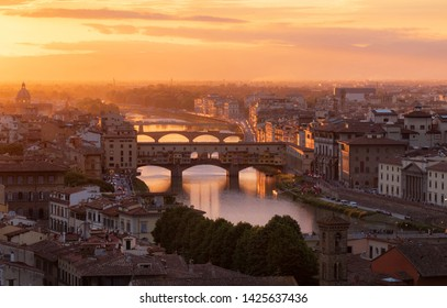 Beautiful sunset view of bridge Ponte Vecchio. Florence, Italy
