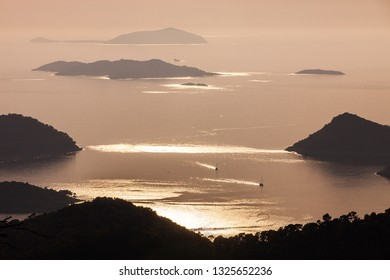 A beautiful sunset view form Hum hill over Lastovo archipelago. Lastovo is one of the most remote islands in Croatia.