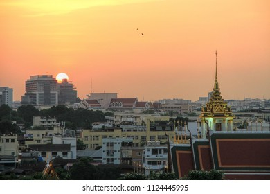 Beautiful sunset view from the Golden Mount, Wat Saket temple, Bangkok with Bangkok city view in the background