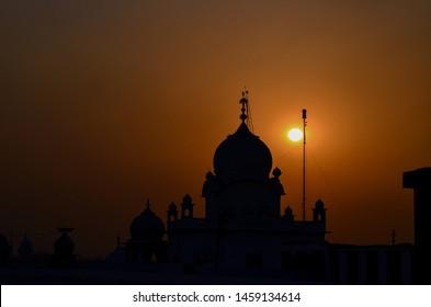 Beautiful sunset view of Gurudwara Shri Fatehgarh Sahib, Punjab, India.