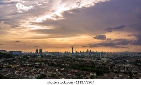 Beautiful sunset view in Kuala Lumpur, Malaysia.