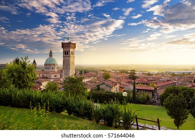 Beautiful sunset view of Lonato del Garda, a town and comune in the province of Brescia, in Lombardy, Italy