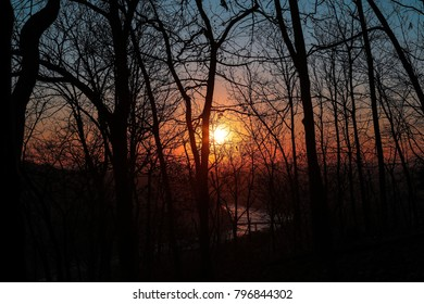 A beautiful sunset view from the Maryland Heights Trail in Harpers Ferry, West Virginia.