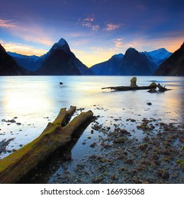Beautiful sunset view at Milford Sound, New Zealand