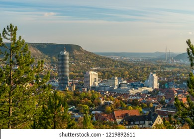 Beautiful sunset view over Jena from the Landgrafenblick, Thuringia, Germany