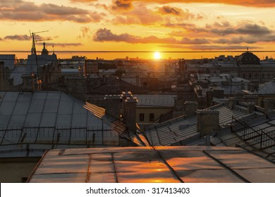 Beautiful sunset view from the rooftops historic center of St. Petersburg, Russia.