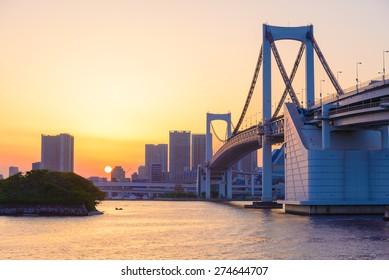 Beautiful Sunset View of Tokyo Skyline and Rainbow Bridge