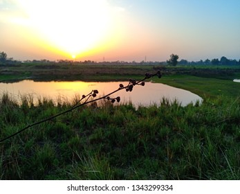 beautiful sunset view from village