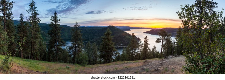 beautiful sunset viewed from the top of a popular hiking trail in Northern Idaho, Mineral Ridge