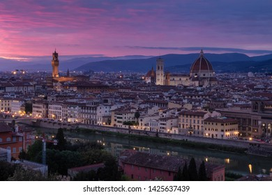Beautiful sunset views of Florence cityscape, Italy, Europe