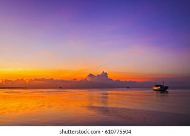 Beautiful sunset of Wakatobi Island Indonesia