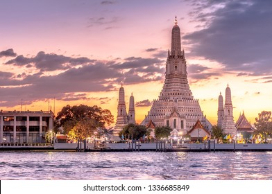 Beautiful sunset with Wat Arun buddhist temple Bangkok Thailand