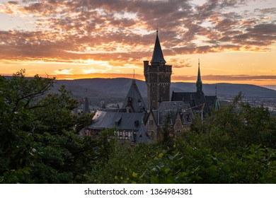 Beautiful sunset in Wernigerode with the structural landmark of the castle