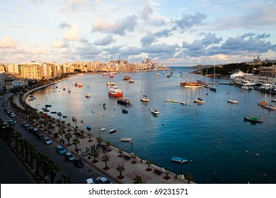 Beautiful sunset in winter, Sliema harbor, Malta