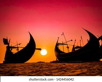Beautiful sunset at World famous Cox's Bazar sea bea