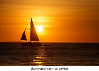 Beautiful sunset with yacht at Boracay, Philippines